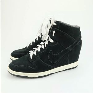 Nike dunk sky hi black suede wedge sneakers Sz 9